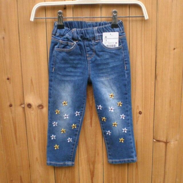 5996967650388 Broderie Fleurs Filles Jeans Pantalon Taille Élastique Enfants Pantalon  Enfant Vêtements Doux Confortable Casual Jeans pour
