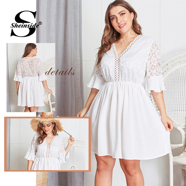 Sheinside Plus Size Contrast Lace Hollowed Out V Neck Dress Women 2019 Summer Flounce Sleeve Dresses Ladies A Line Dress 5
