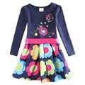 Nova дети принцессы платье девушки 2016 полный рукавом цветочные платья высокого качества девушки детской одежды девочка платья дети