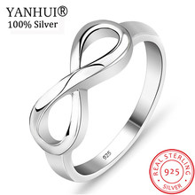 YANHUI Real Original 925 Sterling Silver Infinity Rings for Women Elegant 8 Shape Wedding Engagement Rings Gift Jewelry ZR019(China)