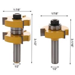 2 sztuk 1/2 uchwyt 3 zębów w kształcie litery T noże Blade12.7mm na pióro i wpust Router Bit zestaw wspólnego montażu router Bit narzędzie do cięcia drewna|Frez|   -