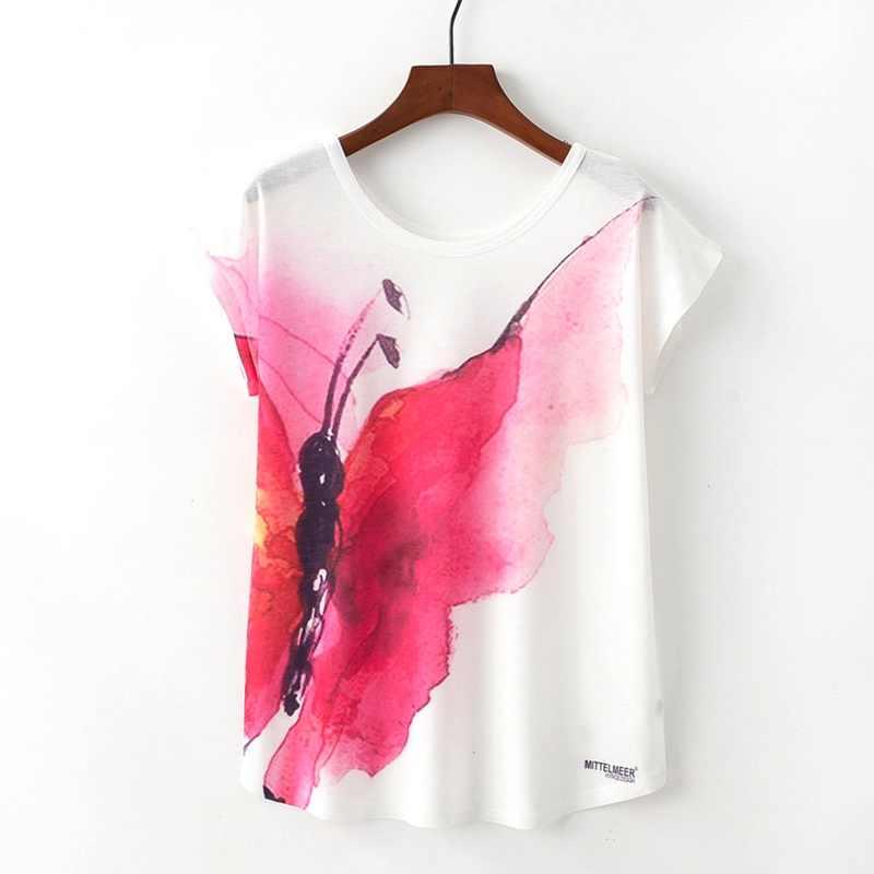 KaiTingu Zomer Nieuwigheid Vrouwen T-shirt Nieuwe Harajuku Kawaii Leuke Stijl Rode Vlinder Print T-shirt Korte Mouw Tops Maat M L XL
