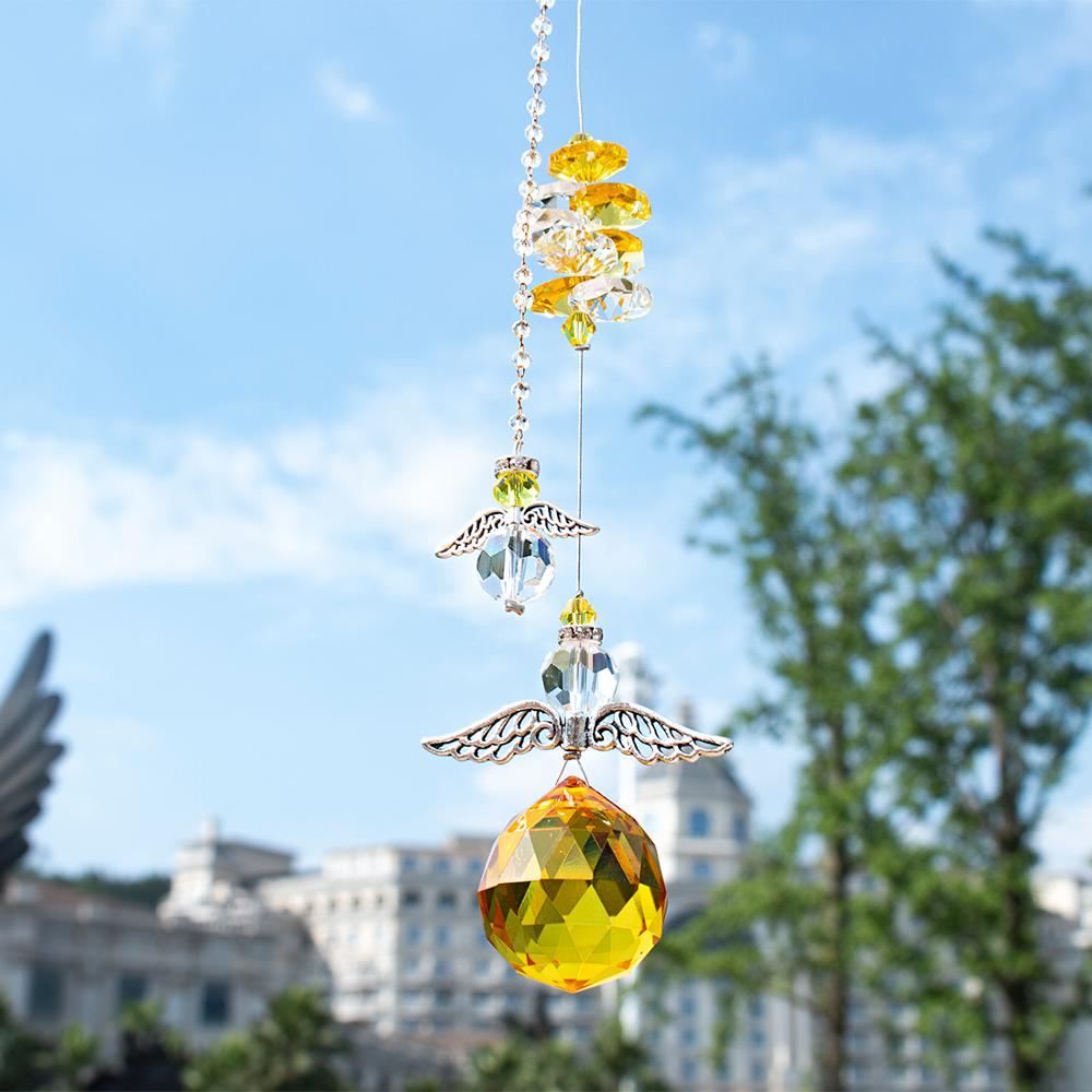 H&D Yellow Hanging Crystal Guardian Angel Suncatcher Rainbow Collection Window Sun Catcher Ornament Handcrafted Gift For Family