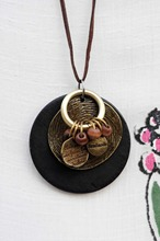 Ethnic Women's Wooden Pendant Necklace