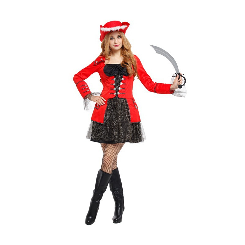 Women Sexy Sailor Pirates of the Caribbean Costumes Halloween Cosplay Exotic Apparel Carnival Stage play Nightclub dance dress