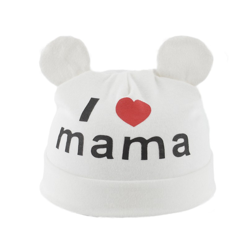 2017 Baby Boys and Girls Hat Newborn Baby Cotton Skullies Love mama print Caps Hats For Baby Girls Knitted Beanies Cap lovely toddler first walkers baby boys and girls cotton shoes soft bottom hook sneakers i love mom dad