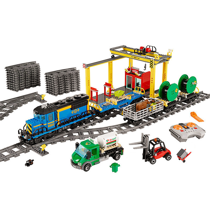 Diy Compatible legoing Train Sets 60052 City Series the Cargo Train Building Blocks Bricks Educational Toys for Children Gifts lepin 02015 456pcs city series train station car styling building blocks bricks toys for children gifts compatible 60050