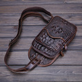 2017 new men's chest bag 100% genuine leather waist packs men leisure oil wax alligator bag vintage  bags