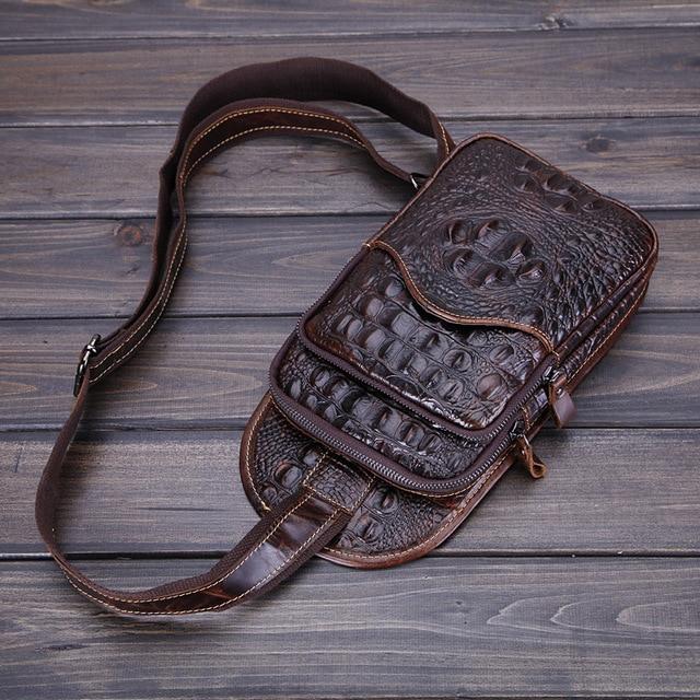 2017 new men's chest bag 100% genuine leather waist packs men leisure oil wax alligator bag vintage  bags