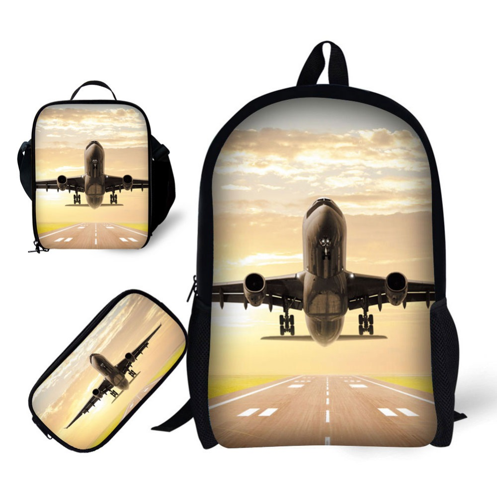 School 3pcs/Set For Boy Backpack Aircraft Printing Satchel Schoolbag In Primary Students Notebook Bag Meal Package Pencil Case