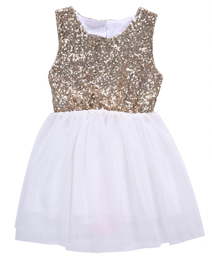 gold Sequins Baby Flower sleeeveless o neck Girl Dress Backless ...