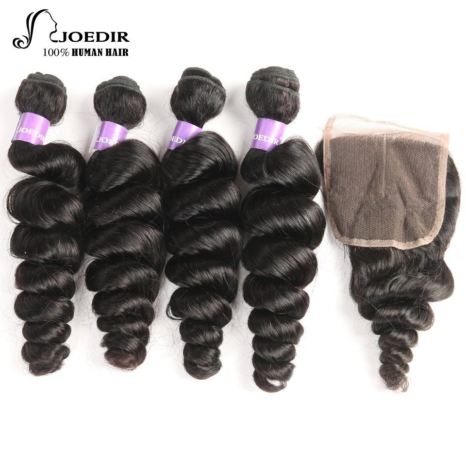 joedir Hair 4Pcs Bundles With Closure 4*4 Part indian loose wave Human Hair Bundles with Closure Pre-Plucked Hairline