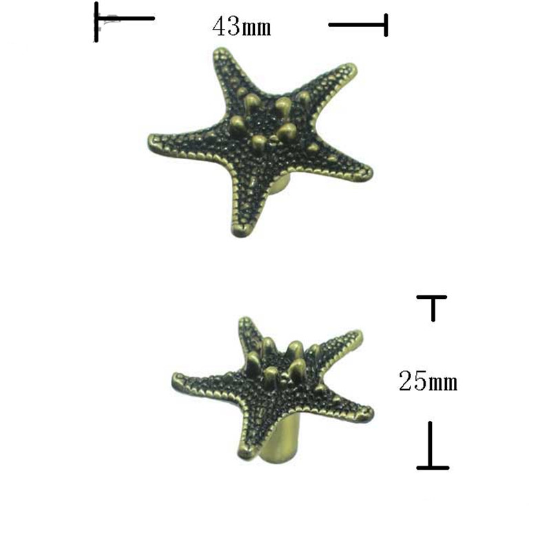 Vintage Furniture Handle Starfish Knobs and Handles Door Zinc Alloy Handle Cupboard Drawer Kitchen Modern Pull Knob Hardware,1PC 1 pair 96mm vintage furniture cupboard wardrobe handles and knobs antique bronze alloy kitchen cabinet door drawer pull handle