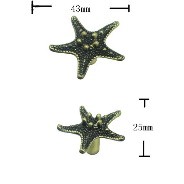 Nice Vintage Furniture Handle Starfish Knobs And Handles Door Zinc Alloy Handle  Cupboard Drawer Kitchen Modern Pull