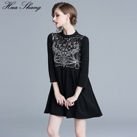 Long Blouse Women 2019 Spring Autumn Turtleneck Three Quarter Sleeve Lace Hollow Out Embroidery Elegant Blouse Black Tunic Tops