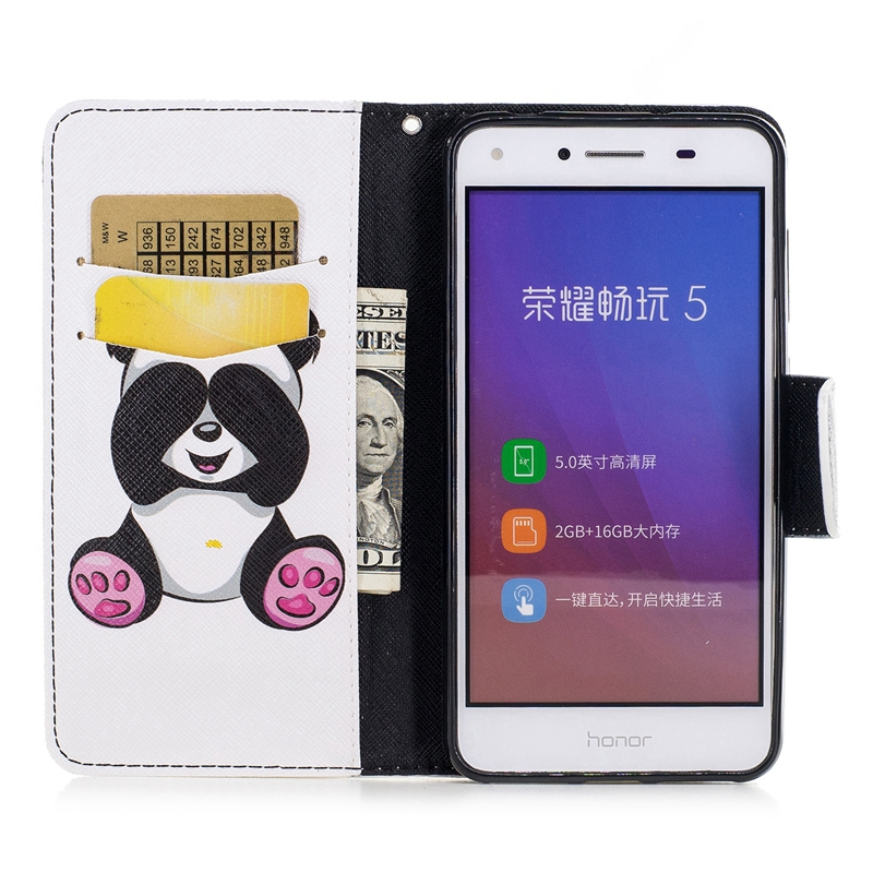 Sfor Coque Huawei Y5 Ii Case Cute Panda Cat Leather Flip Wallet Phone Cases For Huawei Y5 Ii 2 Y6 Ii Compac Cover Etui Capinha Wallet Cases Cellphones & Telecommunications