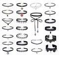 24 Pcs Sets Fashion Harajuku Black Leather Collar Women Choker Necklace Vintage Lace velvet belt necklace women RBR112
