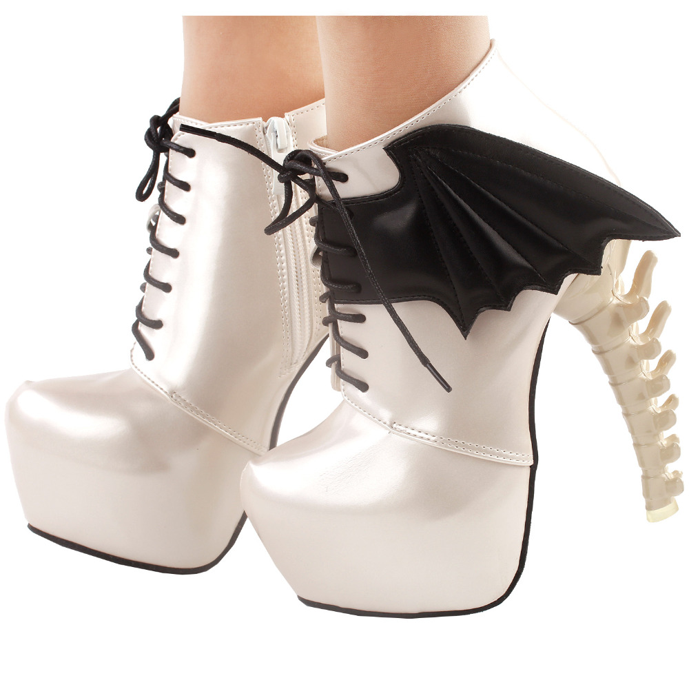 LF80658 Show Story Punk Two Tone Wings Lace Up Bone Heels Platform Ankle Boots button up two tone work shirt
