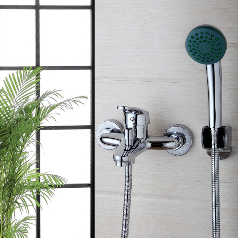 Free Shipping Home Improvement Wall Mounted Bathroom Faucet Bath Tub Mixer Tap With Hand Shower Head Shower Faucets free shipping polished chrome finish new wall mounted waterfall bathroom bathtub handheld shower tap mixer faucet yt 5333