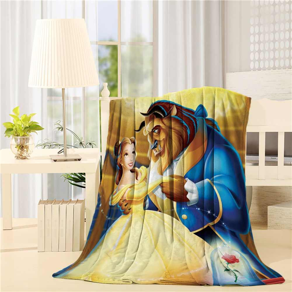 Beauty And Beast Flannel Throw Blanket Lightweight Cozy Bed Sofa Blankets Super Soft Fabric
