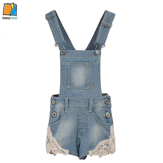 115be551444 YKYY YAKUYIYI Sweet Light Wash Girls Overalls Lace Patched Baby Girls  Overalls Soft Pockets Children Overalls Girls Clothing