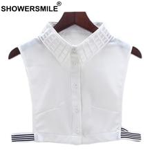 SHOWERSMILE Detachable Collar Women White Fake Shirt Collars Removable Laides Solid Casual Sweater Chiffon Lapel False Collar