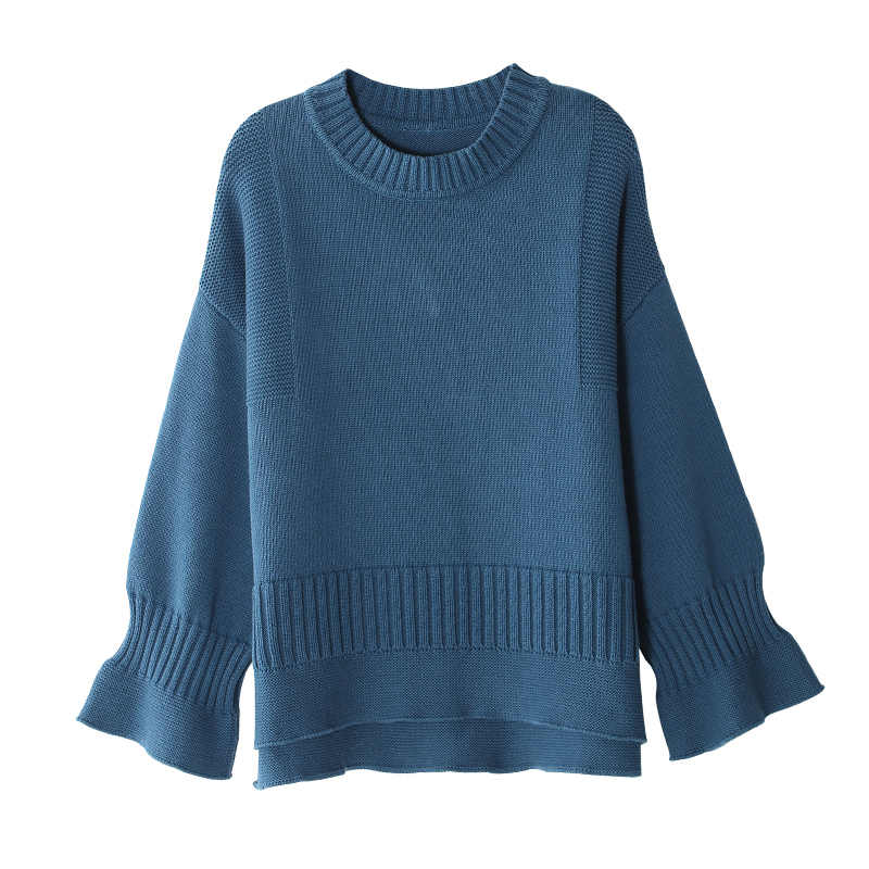 Toyouth tejer Pullover moda Flare manga Otoño Invierno suéter mujeres tapas Casual Crew Neck Jumper pull femme suéter rosa