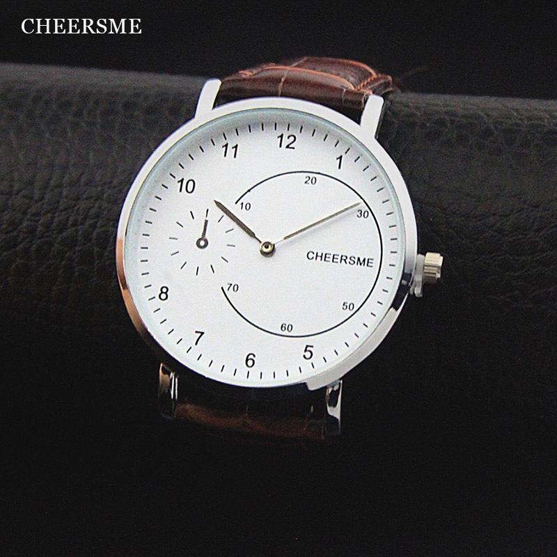Cheersme High Quality Men Business Watch Ultra-thin Dial Fashion Leather Strap Quartz Wristwatch Male Clock relogio masculino weiqin w3224 shell dial ultra thin ceramic women quartz watch