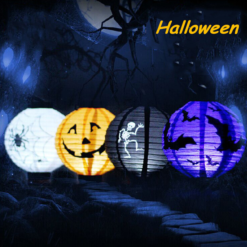 1 pcs halloween decoration led paper pumpkin light hanging lantern lamp halloween props outdoor party supplies - Halloween Supply Store