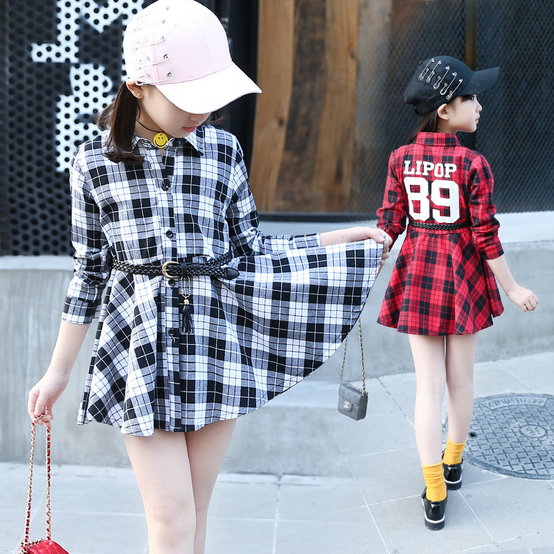 ФОТО sashes shirts school dresses for girls 2017 new red white black plaid children dress long sleeve spring autumn children clothing