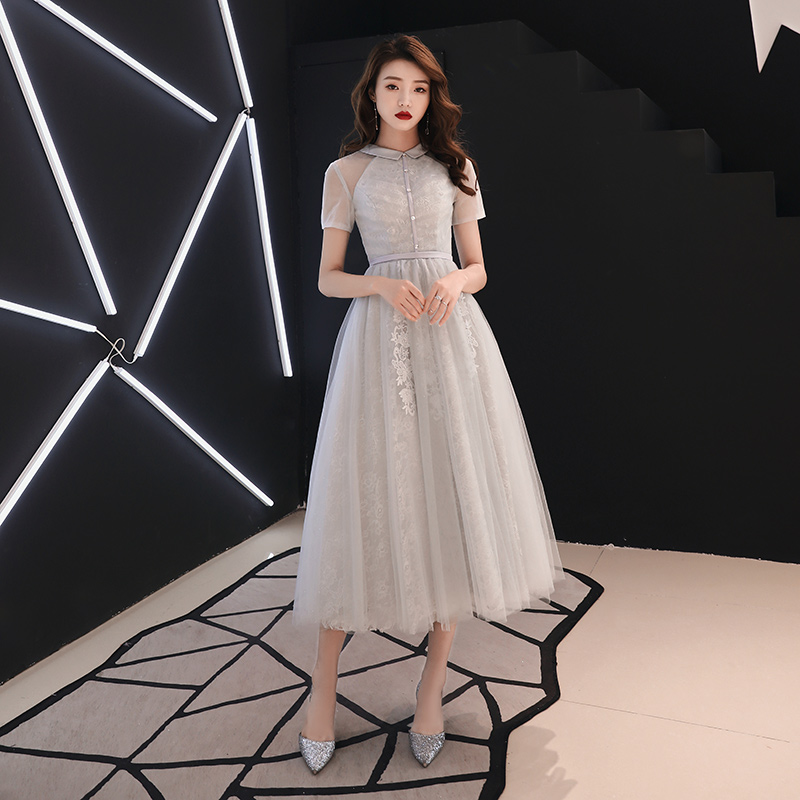 Formal   Evening     Dress   Illusion Ruched Gray O-Neck Short Sleeve Lace Zipper Ankle-length Dinner Party Formal Dresse LF389