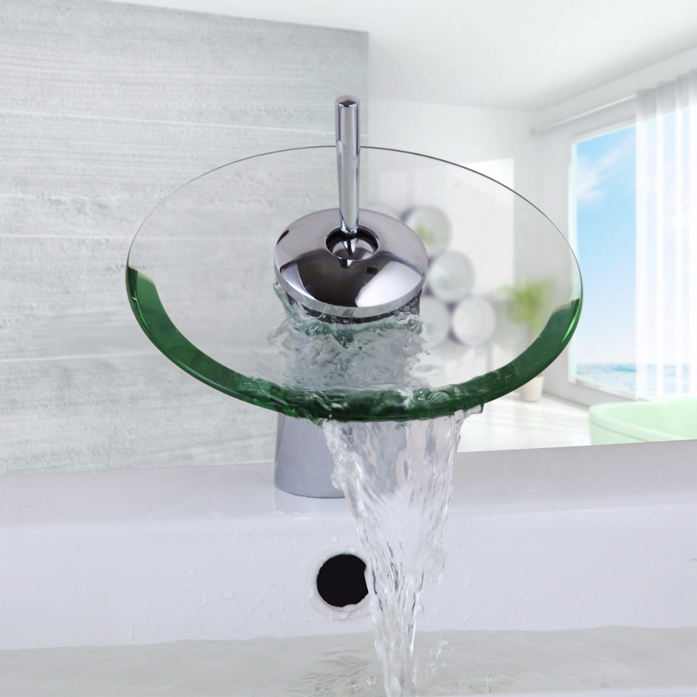 glass bathroom faucets. Round Glass Bathroom Sink Hole Water Tap Waterfall Faucet For Mixer Taps-in Basin Faucets From Home Improvement On Aliexpress.com E