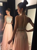 Gorgeous Beadings Sleeveless Long A Line Two Pieces Prom Dress 2018 Chiffon Party Evening Gowns Robe De Soiree Custom made