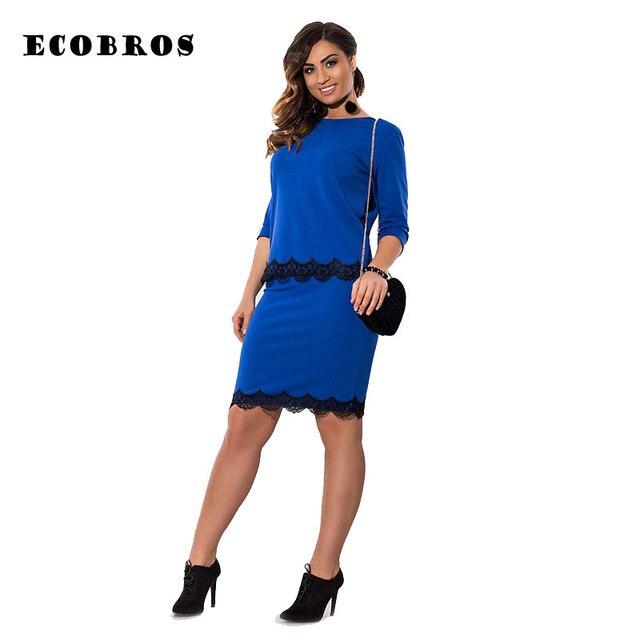 7485e4017e5 ECOBROS Big size 6XL 2017 Fat MM Woman lace dress Casual patchwork bodycon  tops+dresses set plus size women clothing 6xl dress
