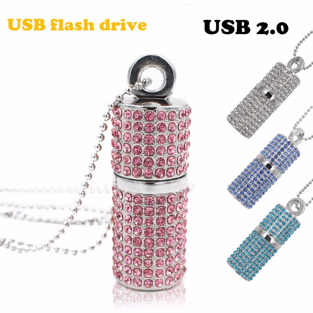 Usb Flash Drive 4G 8G 16G Pendrive 32G Pen Drive U Disk USB 2.0 drive Irish Diamond Crystal Memory Necklace Stick acmecn universal crystal ball pen with usb flash drive metal bling diamond mixed color multi function pen 8g memory usb pen