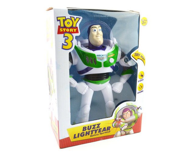 free shipping Story 3 Buzz Lightyear PVC Action Toy Figures with light&sound P3