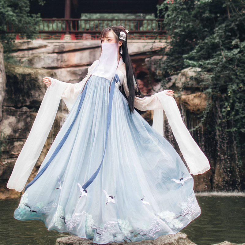 Chinese Style Hanfu National Style New Style Adult Female Student Fairy Spring And Autumn Photo Stage Performance Clothing