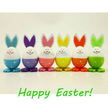 24 pcs/lot Colorful Plastic Rabbit Toy Handmade Easter Egg Gift DIY Toy for Kids Little Lovely Rabbit(China)