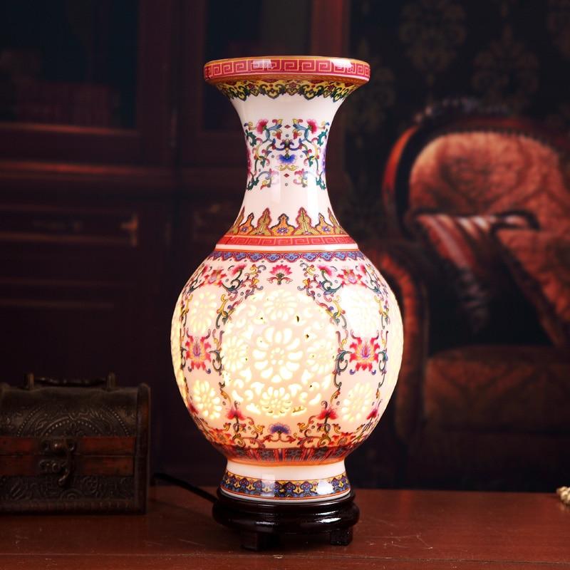 Red Handmade Hollow Out Porcelain Table Lamps Wood Base Living Room/Bedroom  Ceramic Desk