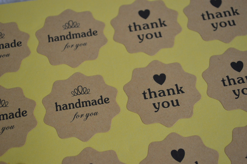 Thank You For Baking: 720pcs/lot,Handmade & Thank You Kraft Sticker Baking