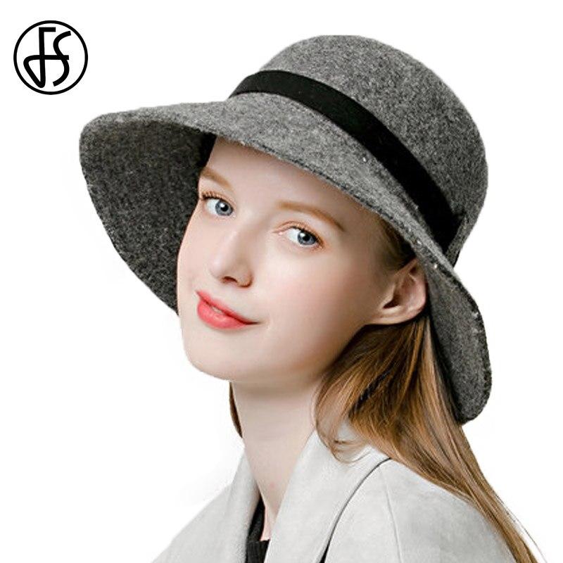 FS vendimia amplia Birm sombrero cloche para la señora 100% lana Fieltro  Sombreros de fieltro con cinta de terciopelo mujeres elegantes sombreros de  ... 2d29152efe9