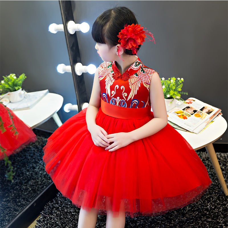 2017New Red Chinese Traditional Dress Girls Kids Wedding Dress Clothes Chinese National Qipao Children Cheongsam Party Dress red full length wedding dress elegant evening gowns chinese women embroidery flower qipao sexy cheongsam bride toast clothing