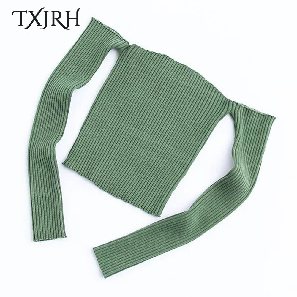 TXJRH Sexy Knitted Sweater Off Shoulder Slash Neck Pullover Long Sleeve Slim Knitwear Jumper Fashion Women Casual Tops 4 Colors in Pullovers from Women 39 s Clothing