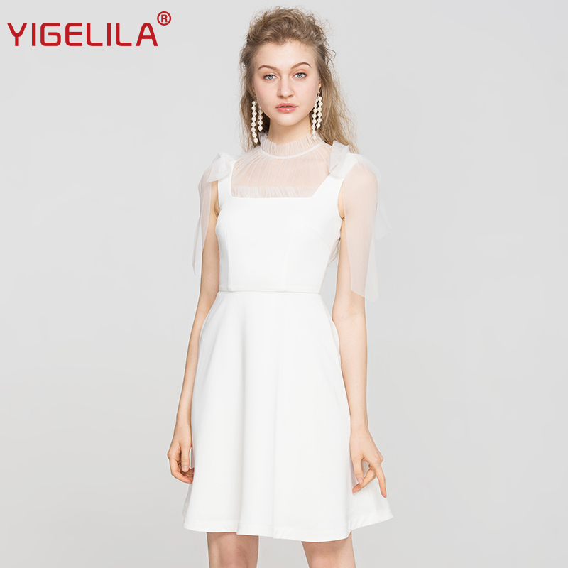 YIGELILA Latest Summer Women White Tank Dress Fashion Solid O-neck Sleeveless Empire Slim Knee Length Bow Mesh Dress 63084