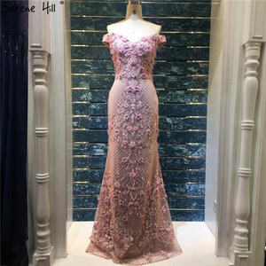 Image 3 - 핑크 민소매 숄더 럭셔리 이브닝 드레스 2020 수제 꽃 진주 섹시한 이브닝 가운 실제 사진 la60715