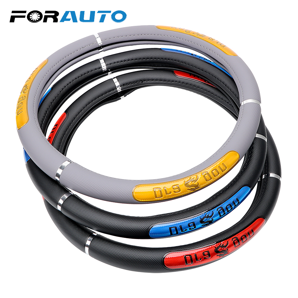FORAUTO Universal Durable Steering Covers DIY Car-covers Interior Accessories Truck Artificial Leather Wheel Covers Car Styling