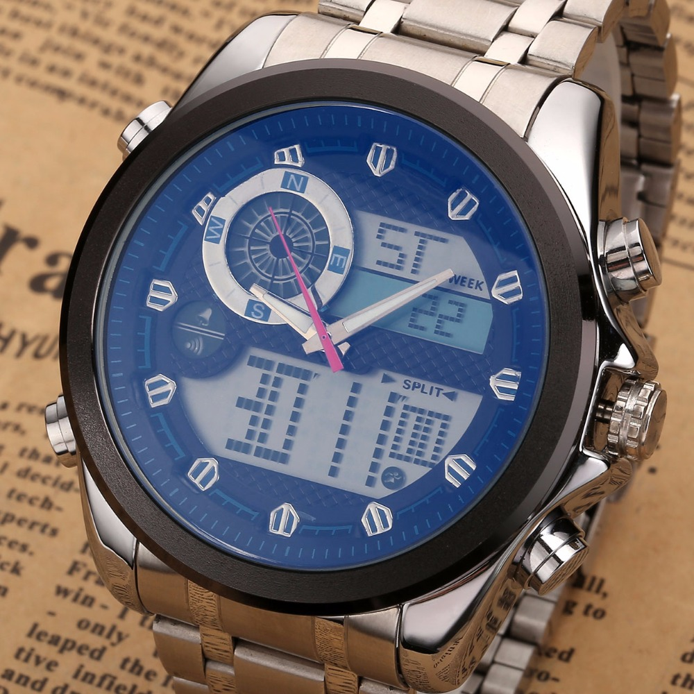 6.11 Luxury Brand 2018 New Style fashion watch military watch analog digital EL clock stainless steel men LED Sport Wrist Watch