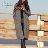 Ordifree 2017 Autumn Winter Long Knitted Cardigan Warm Coat Outwear Grey Long Knitting Sweater Women Jumper