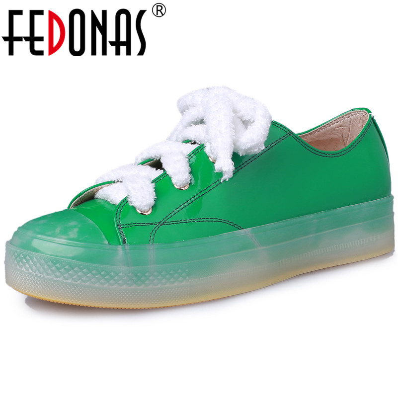 FEDONAS Fashion Brand Flats Heels Shoes Round Toe Patent Leather Lace Up Spring Autumn Casual Shoes Woman Ladies Flats Shoes