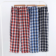 2018 Spring Autumn New Sleepwear Mens Lounge Pants Pijama Hombre Pantalon Cotton Plaid Sleep Pants Mens Bottoms Q1351